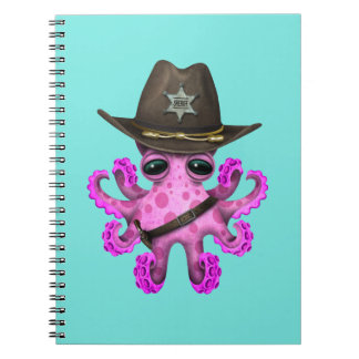 Cute Pink Baby Octopus Sheriff Spiral Notebook
