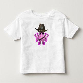 Cute Pink Baby Octopus Sheriff Toddler T-shirt
