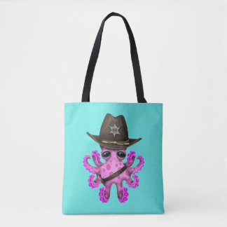 Cute Pink Baby Octopus Sheriff Tote Bag