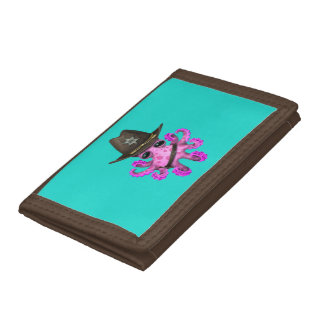 Cute Pink Baby Octopus Sheriff Tri-fold Wallets