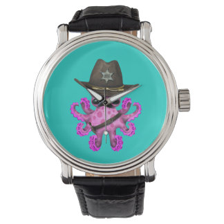 Cute Pink Baby Octopus Sheriff Watch