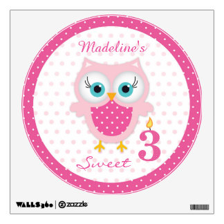 Cute pink baby owl girl 3rd Birthday Wall Decal