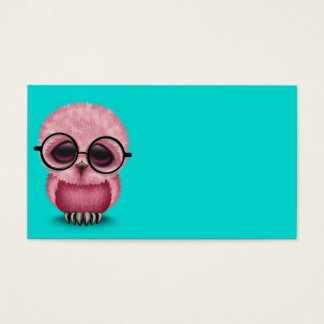 Cute Pink Baby Owl Wearing Glasses on Blue Business Card