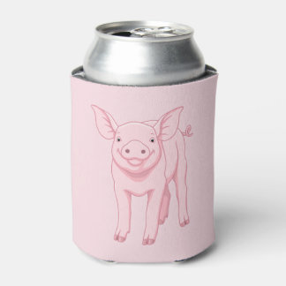 Cute Pink Baby Piglet Can Cooler