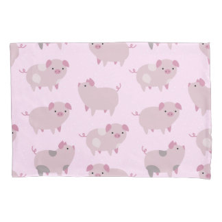 Cute Pink Baby Piglets Pattern & Dots Pillowcase