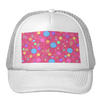 Cute pink baby rattle pattern hat