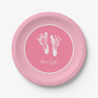 Cute Pink Baby Shower Newborn Girl Footprint Paper Plate