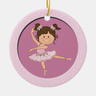 Cute Pink Ballerina 1 Ballet Star Double-Sided Ceramic Round Christmas Ornament