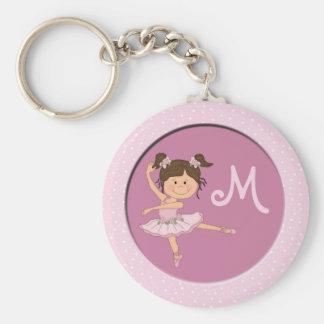 Cute Pink Ballerina 1 Custom Monogram Basic Round Button Keychain