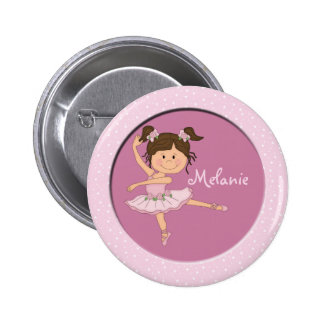 Cute Pink Ballerina 1 Custom Name 2 Inch Round Button