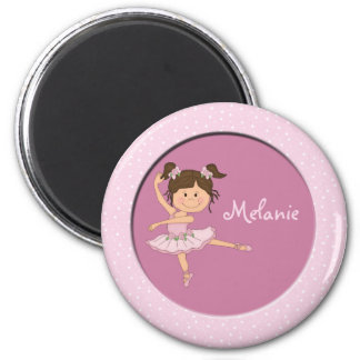 Cute Pink Ballerina 1 Custom Name 2 Inch Round Magnet