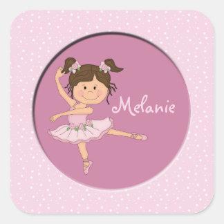 Cute Pink Ballerina 1 Custom Name Square Sticker