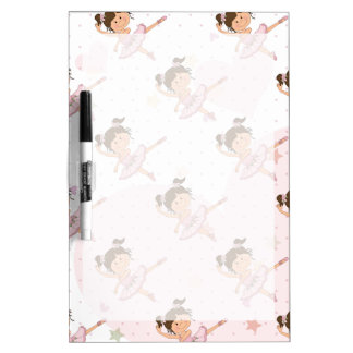 Cute Pink Ballerina 1 Pattern Hearts and Stars Dry-Erase Boards