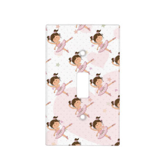 Cute Pink Ballerina 1 Pattern Hearts and Stars Light Switch Plate