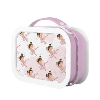 Cute Pink Ballerina 1 Pattern Hearts and Stars Yubo Lunch Boxes