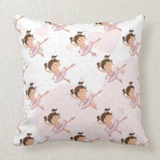 Cute Pink Ballerina 1 Pattern Hearts and Stars Throw Pillow