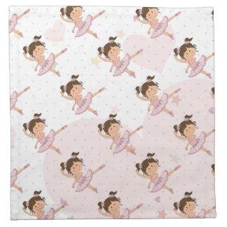 Cute Pink Ballerina 1 Pattern Hearts and Stars Printed Napkin