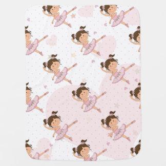 Cute Pink Ballerina 1 Pattern Hearts and Stars Stroller Blanket