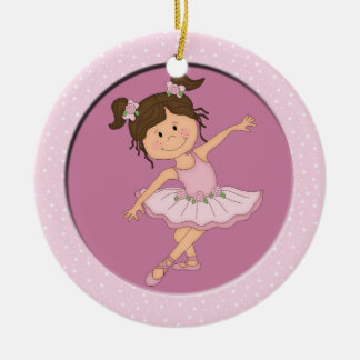 Cute Pink Ballerina 2 Ballet Star Double-Sided Ceramic Round Christmas Ornament