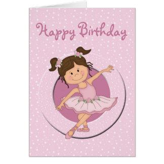 Cute Pink Ballerina 2 Happy Birthday Greeting Card