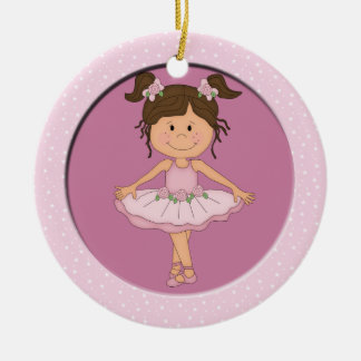 Cute Pink Ballerina 3 Ballet Star Double-Sided Ceramic Round Christmas Ornament