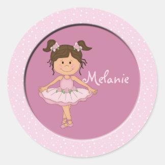 Cute Pink Ballerina 3 Custom Name Round Sticker