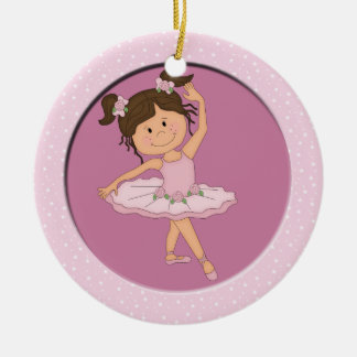 Cute Pink Ballerina 4 Ballet Star Double-Sided Ceramic Round Christmas Ornament