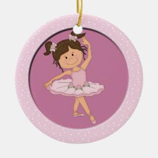 Cute Pink Ballerina 4 Ballet Star Round Ceramic Ornament