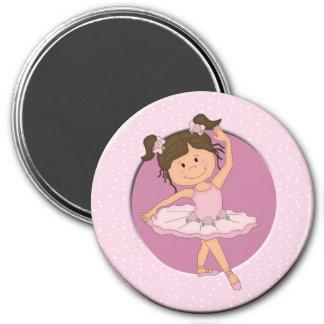 Cute Pink Ballerina 4 Custom Name 3 Inch Round Magnet