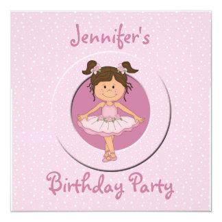 "Cute Pink Ballerina Birthday Party 5.25"" Square Invitation Card"