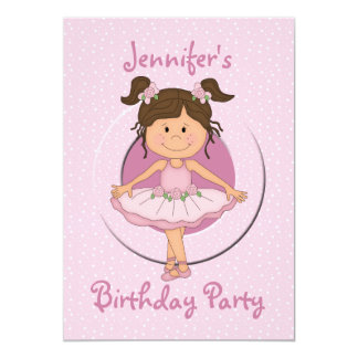 Cute Pink Ballerina Birthday Party Card