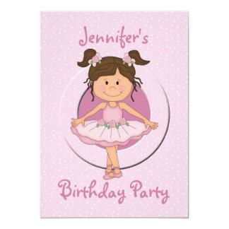 "Cute Pink Ballerina Birthday Party 5"" X 7"" Invitation Card"