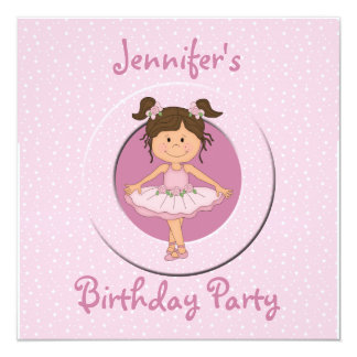 Cute Pink Ballerina Birthday Party 5.25x5.25 Square Paper Invitation Card
