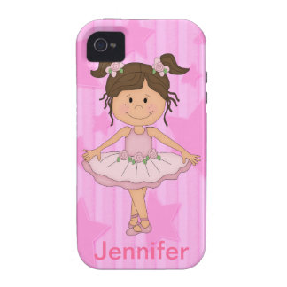 Cute Pink Ballet Girl On Stars and stripe iPhone 4/4S Cases