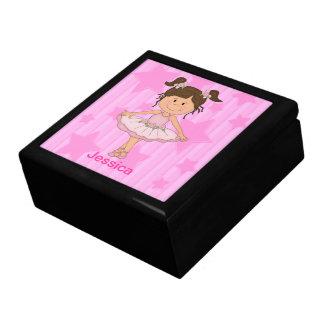 Cute Pink Ballet Girl On Stars and stripe Keepsake Boxes
