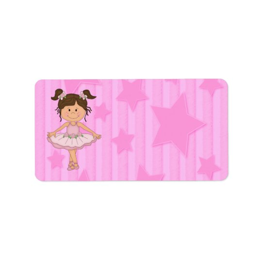 Cute Pink Ballet Girl On Stars and stripe Label