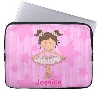 Cute Pink Ballet Girl On Stars and stripe Laptop Computer Sleeves