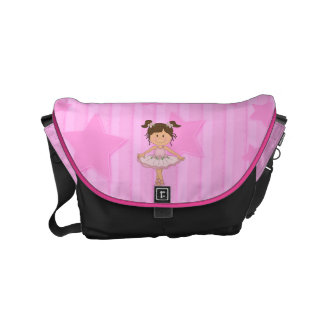 Cute Pink Ballet Girl On Stars and stripe Messenger Bags