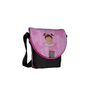 Cute Pink Ballet Girl On Stars and stripe Messenger Bag