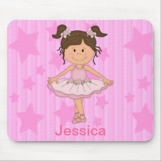 Cute Pink Ballet Girl On Stars and stripe Mouse Pad