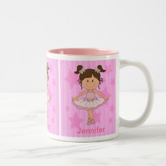 Cute Pink Ballet Girl On Stars and stripe Coffee Mugs