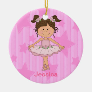 Cute Pink Ballet Girl On Stars and stripe Round Ceramic Ornament