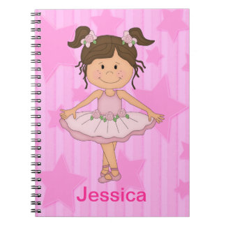 Cute Pink Ballet Girl On Stars and stripe Spiral Notebook