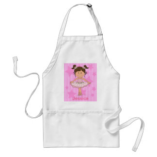 Cute Pink Ballet Girl On Stars and stripe Standard Apron