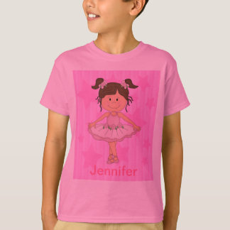 Cute Pink Ballet Girl On Stars and stripe Tshirts