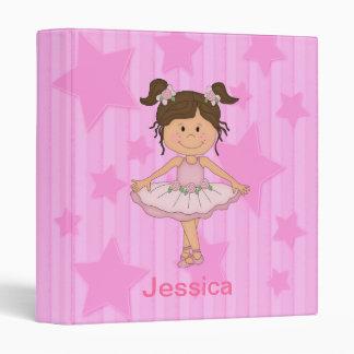 Cute Pink Ballet Girl On Stars and stripe Vinyl Binder