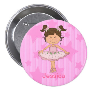 Cute Pink Ballet Girl On Stars and Stripes 3 Inch Round Button