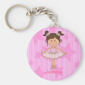 Cute Pink Ballet Girl On Stars and Stripes Basic Round Button Keychain