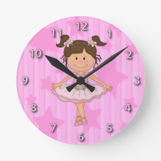 Cute Pink Ballet Girl On Stars and Stripes Round Wallclock