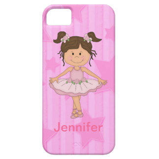Cute Pink Ballet Girl On Stars and Stripes iPhone 5 Cases